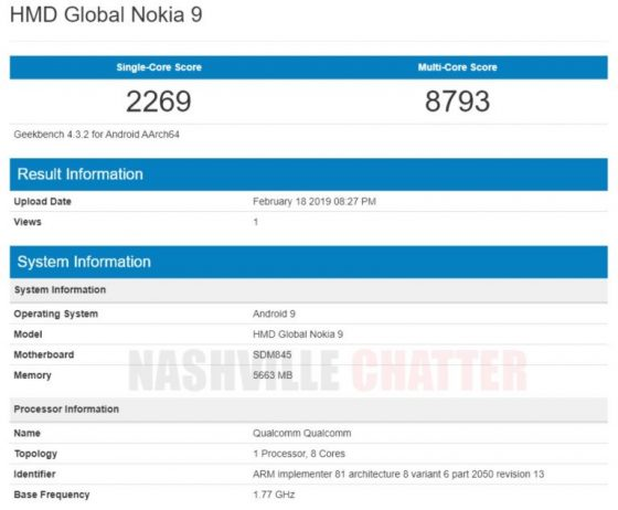 Nokia 9 Pureview has been benchmarked. Confirms phone's CPU