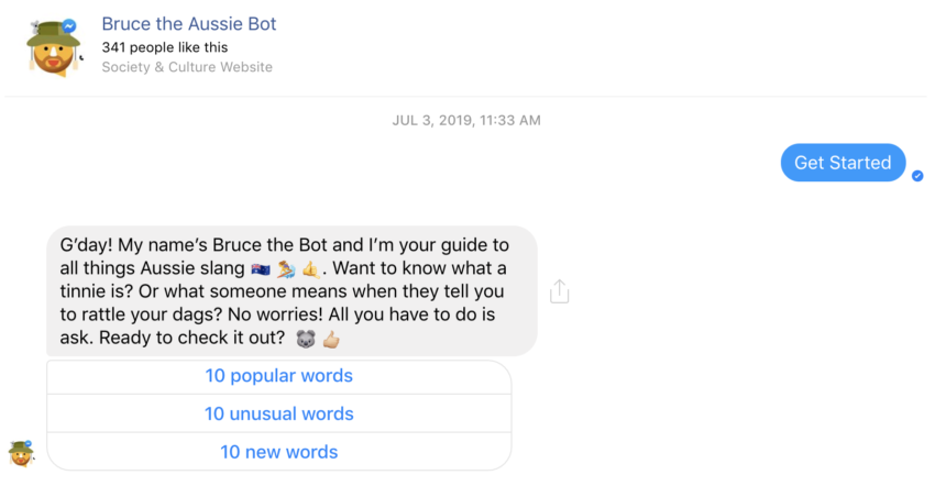 Bruce the Aussie Slang Bot, Facebook's aide for those who do not speak gibberish, I mean Australian