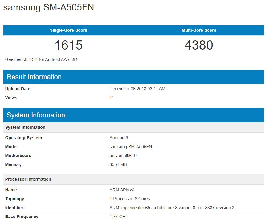 Benchmark of Samsung SM-A505F leaked